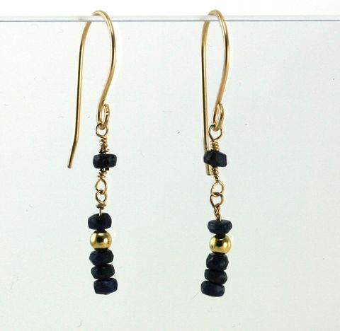 gold,sapphire,dangle,earrings,EGFSGP01,14kt gold filled wire, gold earrings, faceted dark blue sapphires, gold chain, ruby beads
