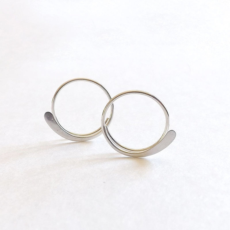Sterling Silver Hammered Open Hoop Earrings - product images  of