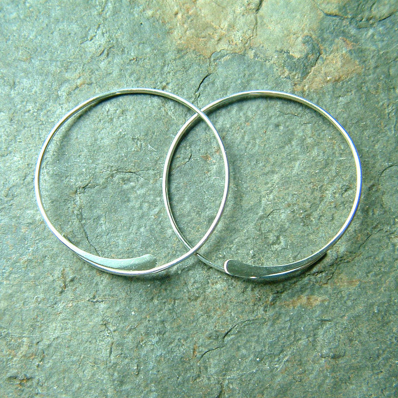 Silver Open Hoops Large Hammered Earring, Choose Your Size - product images  of