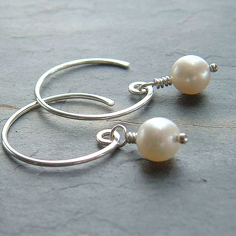 Pearl,Hoop,Earrings,,Sterling,Silver,Open,Hoops,Jewelry, jewellery, pearl earrings, open hoops, simple earrings, silver earrings, wedding jewelry, bridesmaid gift, kdavisstudios, artistikat, sterling silver hoop, simple silver jewelry