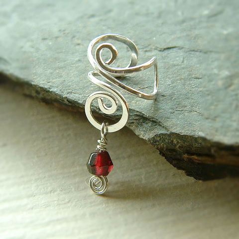 Sterling,Silver,Ear,Cuff,Wire,Wrapped,Garnet,Earcuff,,eco,friendly,jewelry, jewellery, ear cuff, earcuff, sterling silver ear cuff, garnet earring, garnet earcuff, simple silver jewelry, no pierce