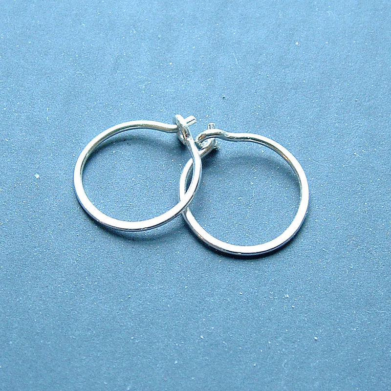 Small Sterling Silver Hoop Earrings Handmade Hoops Eco Friendly Jewelry Product Images Of