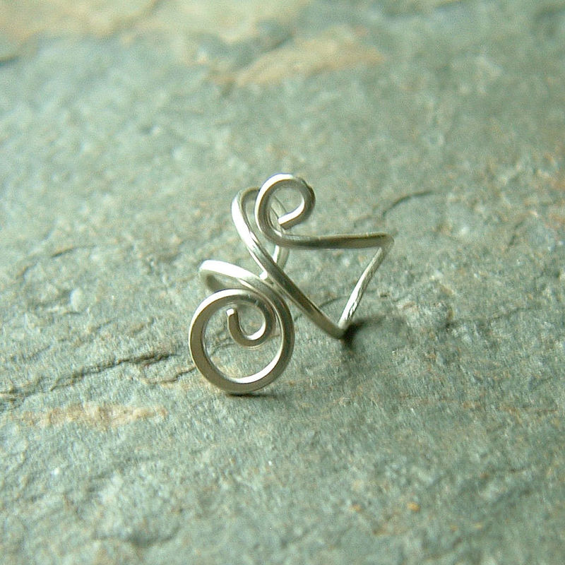 Sterling Silver Ear Cuff Simple jewelry no pierce earring Single - product images  of