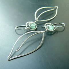 Long Silver Earrings Long Leaves Silver Wire Wrap - product images  of