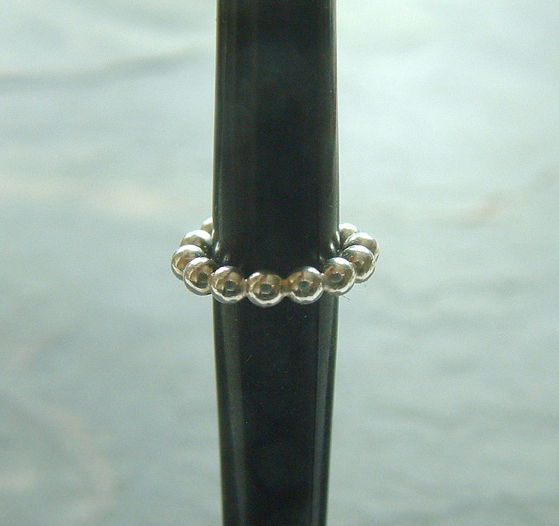 Simple Silver Ear Cuff, Beaded Earcuff Single - product images  of