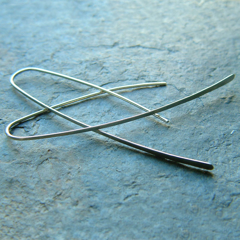 Long Silver Earrings Long Open Hoops, eco friendly fashion - product images  of
