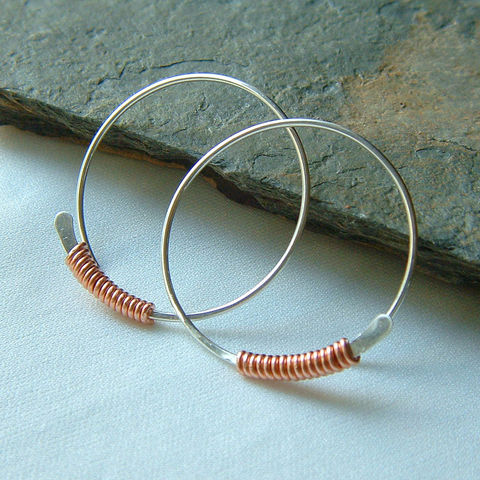Sterling,Silver,Hoop,Earrings,Copper,Wire,Wrapped,Hoops,Large,jewelry, earrings, large hoops, mixed metal, wire wrapped, copper earrings, silver earring, kdavisstudios