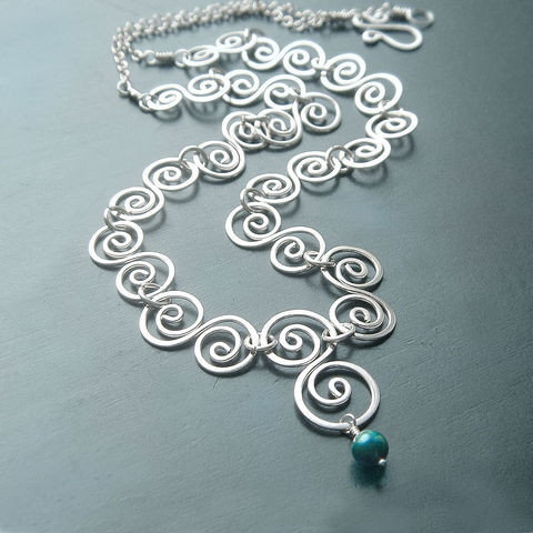 Sterling,Silver,Swirl,Necklace,Handmade,Artisan,Jewelry, necklace, silver necklace, sterling silver necklace, handmade necklace, swirl necklace, silver swirl necklace, k davis studios