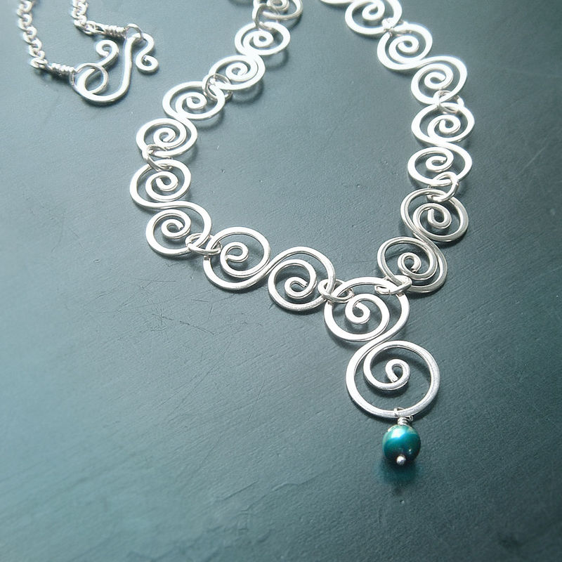 Sterling Silver Swirl Necklace Handmade Artisan Jewelry - product images  of