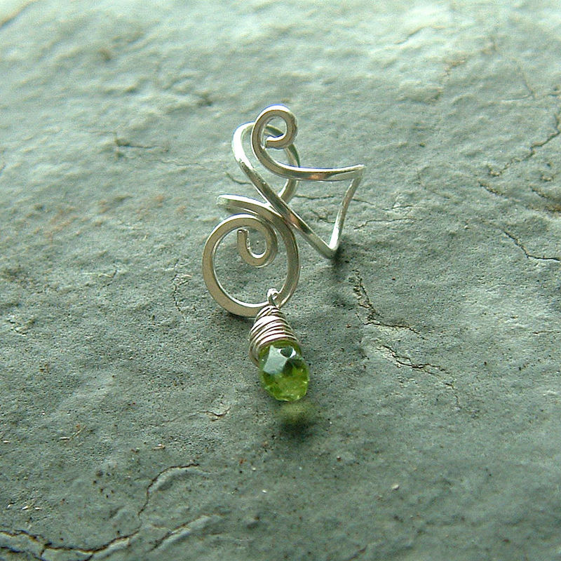 Silver Ear Cuff Sterling Silver Wire Wrapped Peridot Earcuff Single - product images  of