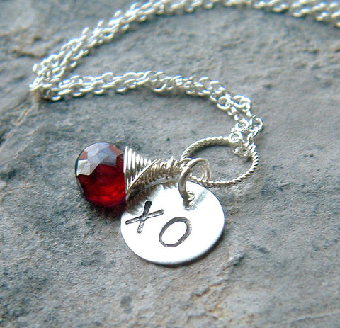 Garnet,Necklace,Hand,Stamped,Sterling,Silver,XO,Jewelry, Necklace, Charm, charm necklace, garnet necklace, personalized, initial_necklace, personalized jewelry, k davis studios