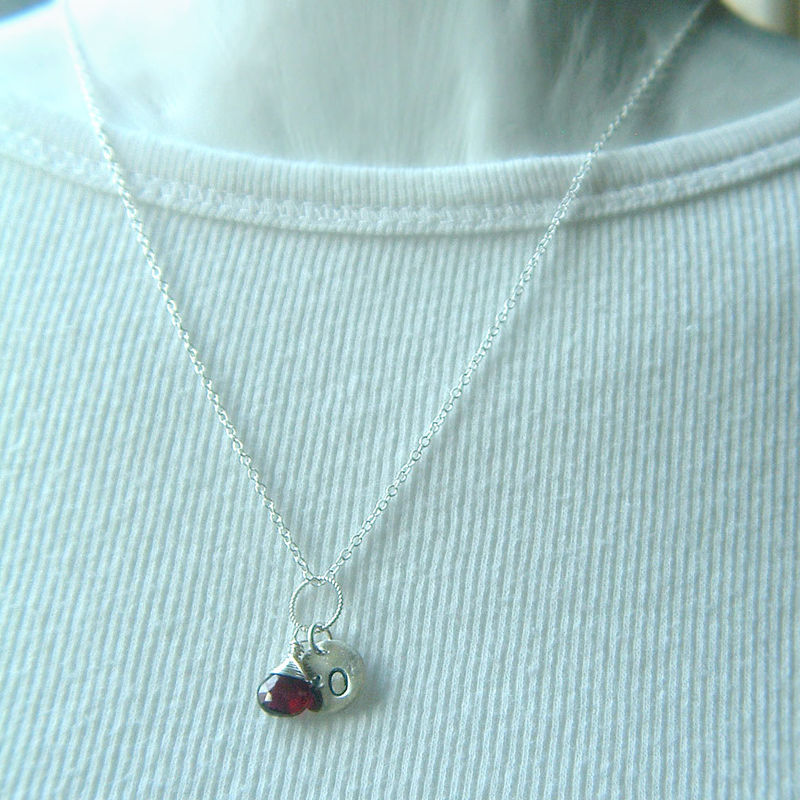Garnet Necklace Hand Stamped Sterling Silver XO - product images  of