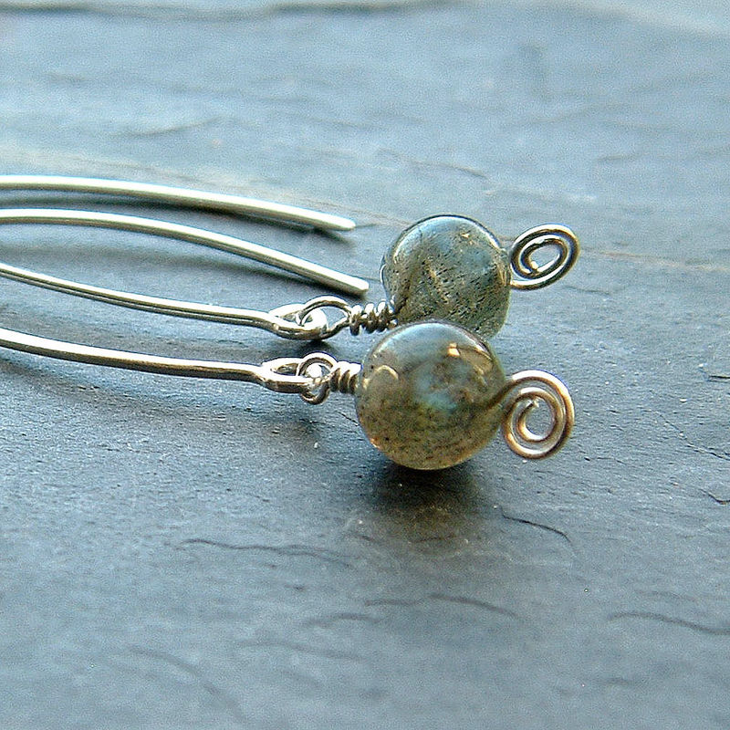Silver Earrings Labradorite Open Hoop Dangles - product images  of