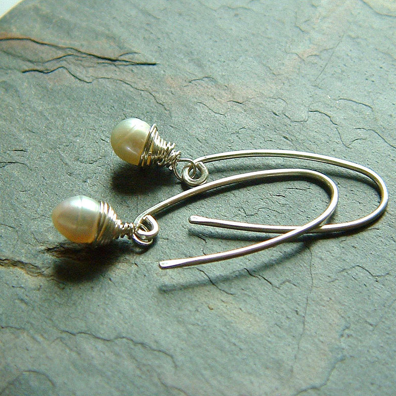 Sterling Silver Wire Wrapped Freshwater Pearl Earrings - product images  of