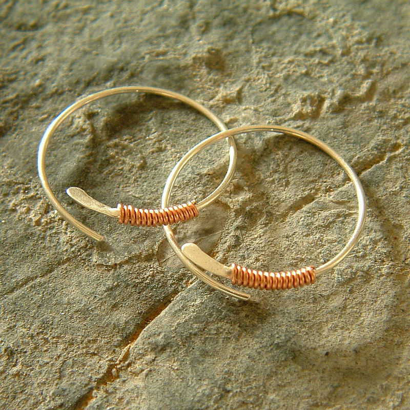 Sterling Silver Hoops Copper Wire Wrapped - product images  of