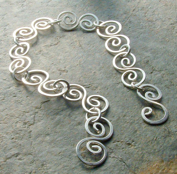 Silver Bracelet Sterling Silver Swirls Handmade Jewelry - product images  of