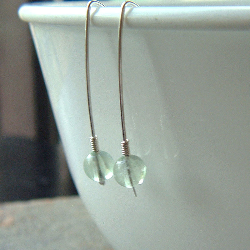 Fluorite Open Hoop Earrings Modern Hook Dangle Earring - product images  of