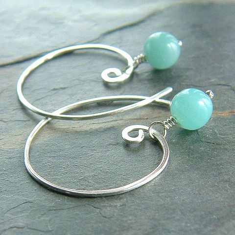 Amazonite,Open,Hoop,Earrings,in,Sterling,Silver,jewelry, earrings, silver earrings, open hoops, amazonite earrings, gemstone earrings, handmade earrings, for her, K Davis Studios