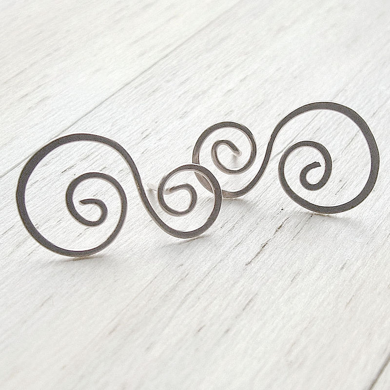 Silver Post Earrings, swirled stud earrings, Rolling Waves - product images  of