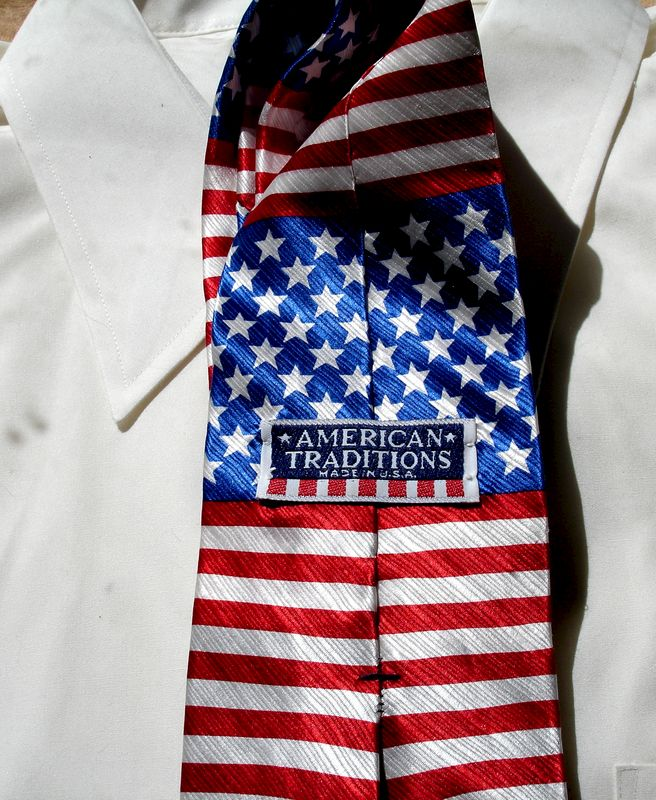 Mens American Tradition Silk Tie In Red White And Blue  - product images  of