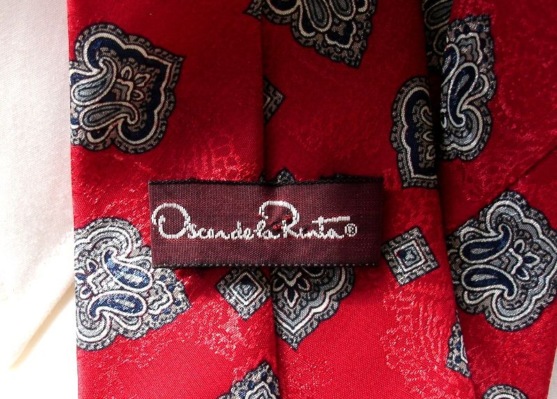 Men's Cranberry Red Blue And Gray Paisley Tie By Oscar de la Renta  - product images  of