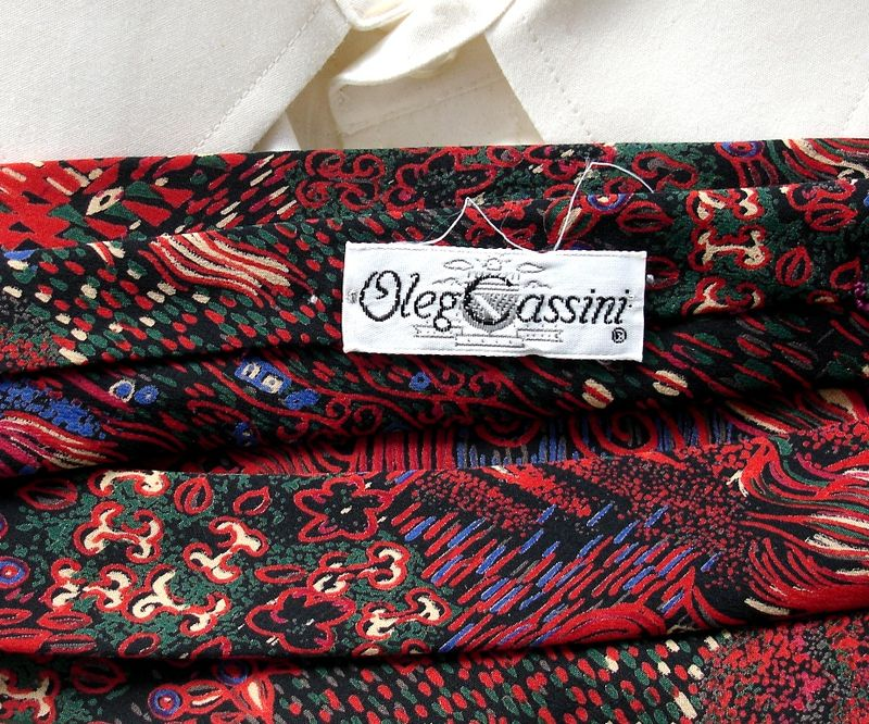 Men's Oleg Cassini Red Blue Green Cream On Black Abstract Tie  - product images  of