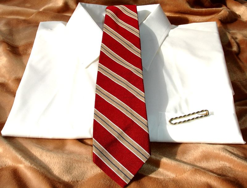 Pierre Balmain Vintage Mens Tie In Red Tan Green And White Stripes  - product images  of