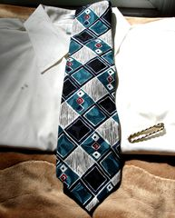 Mens,Silk,Tie,In,Teal,Black,White,Gray,And,Red,By,American,Traditions,tie, mens, American Traditions, mens accessory, teal, black, gray, red, diamond shapes, Italian silk, Two Artisan Sisters