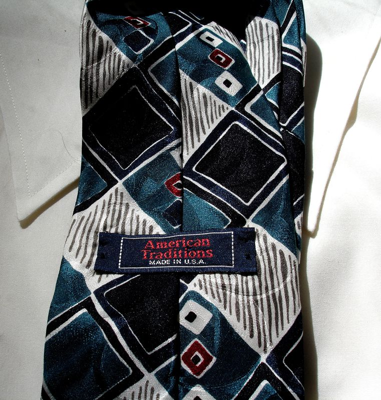 Mens Silk Tie In Teal Black White Gray And Red By American Traditions - product images  of