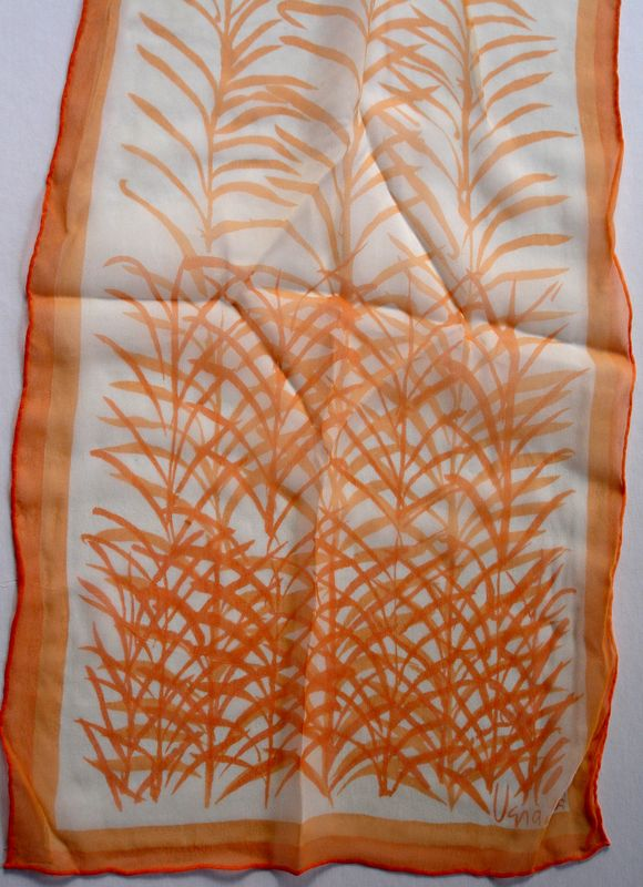 Vera Neumann Verasheer Orange Bamboo Leaves On White Ladybug Scarf - product images  of
