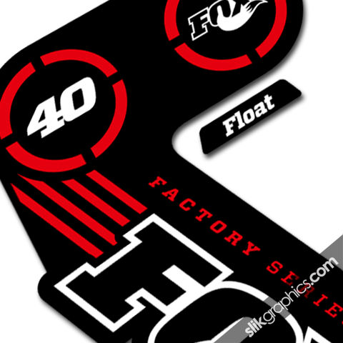 Fox,40,2014,Factory,Style,Decal,Kit,-,Black,Forks,Fox 40, 2014, float, fork decals, stickers, factory