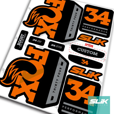 Fox,34,2018,Performance,Series,Style,Decal,Kit,-,Black,Forks,Fox 34, fox 2018 decals, OE, fork decals, stickers, fox, shox, performance series