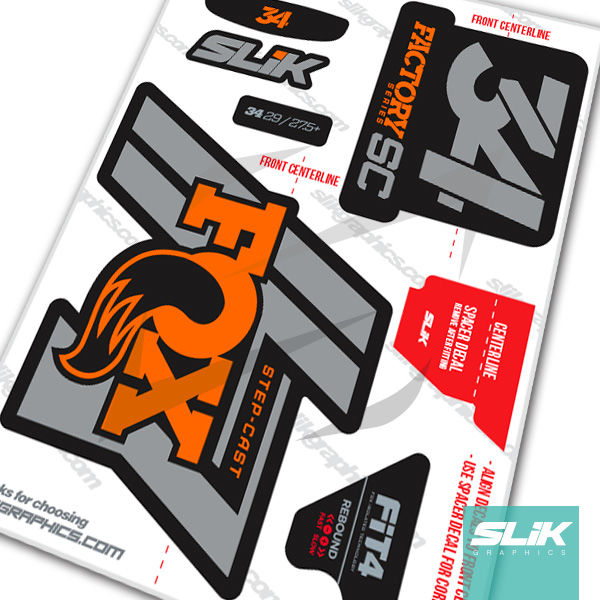 34 >> Fox 34 Step Cast Factory Style Decal Kit Black Forks Slik Graphics