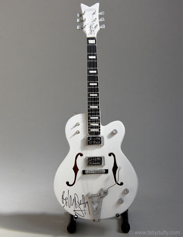 Signed,Billy,Duffy,Miniature,White,Falcon,Billy Duffy Signed Photo The Cult Gretsch White Falcon Miniature Guitar