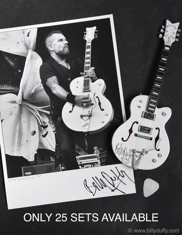 Signed,Billy,Duffy,Miniature,White,Falcon,–,Collector's,Edition,1/25,Billy Duffy Signed Photo The Cult Gretsch White Falcon Miniature Guitar