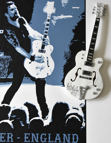 Signed,Billy,Duffy,Miniature,White,Falcon,&,Poster,Bundle,Billy Duffy Signed Photo The Cult Gretsch White Falcon Miniature Guitar