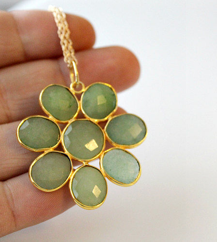 Large Chrysoprase Daisy Style Necklace, Statement Necklace, Green Brazilian Chrysoprase, Gemstone Flower Pendant, Gold Vermeil - product images  of