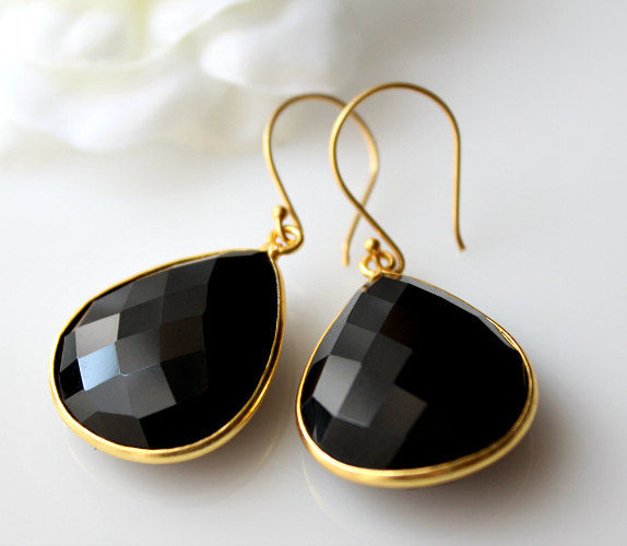 Medium Black Onyx Gold Drop Earrings Bezel Dangle Jet Gemstone