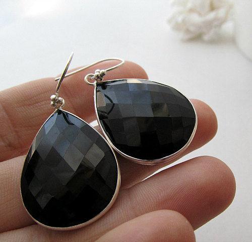 Large Jet Black Dangle Earrings Black Gemstone Bezel