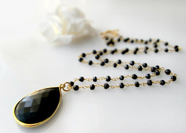 Long Black Onyx Rosary Necklace, Jet Black, Black Gemstone Pendant, Black Spinel, 24 inches long, Gold Vermeil - product images  of