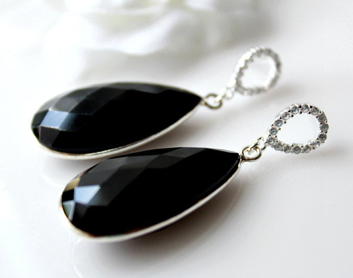 stone natural gemstone dp teardrop quot necklace black onyx silver extender chain pendant sterling with