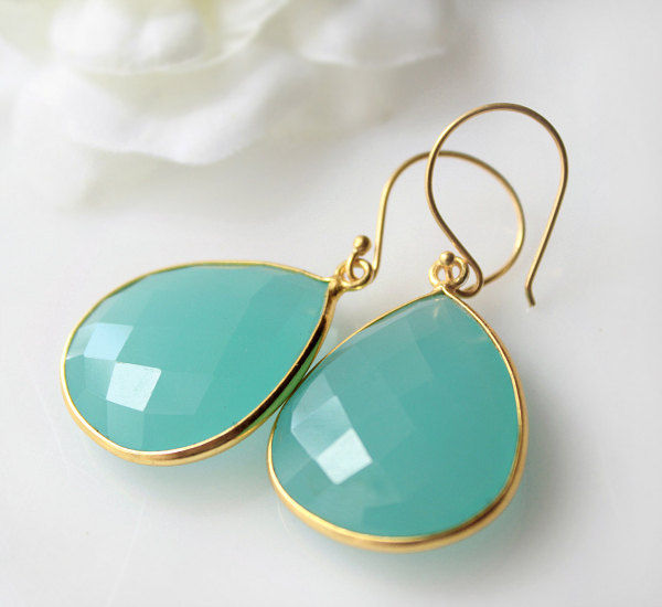 Medium Aqua Chalcedony Drop Earrings Genuine Chacedony Seafoam Blue Green Dangle Gemstone Gold Vermeil Bygerene