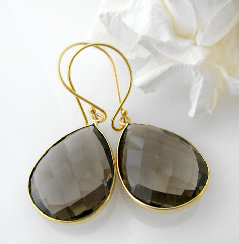 Smokey,Quartz,Pear,Drop,Earrings,,Genuine,Gemstone,Teardrops,,Brown,Bezel,Dangle,Gemstone,,24K,Gold,Vermeil,Jewelry,Earrings,Brown_Gemstone,24K_Gold_Vermeil,Smokey_Quartz,Pear_Drop_Earrings,Genuine_Gemstone,Teardrops,Brown_Bezel,Dangle_Earrings,bygerene,chocolate_gemstone,smokey_jewelry,large_teardrops,quartz_jewelry