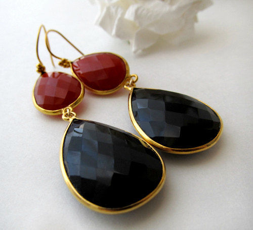 Long Red Black Gemstone Earrings And Onyx Double Drop