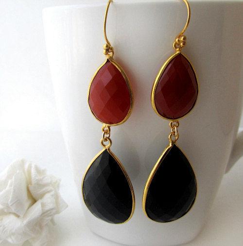 Long Red Black Gemstone Earrings Black And Red Onyx