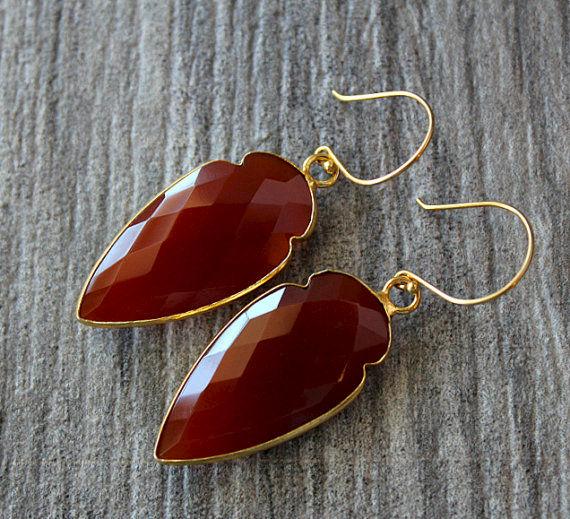 Arrow Red Carnelian Drop Earrings Burnt Dangle Gemstone Jewelry