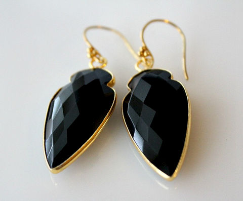 Arrow,Head,Black,Onyx,Drop,Earrings,,Jet,Gemstone,Dangle,,Jewelry,,Dagger,Earrings,     Jewelry   ,  Earrings   ,  Dangle ,    drop earrings ,    black onyx   ,  jet black gemstone   ,    24k Gold Vermeil, arrowhead, arrow head, dagger