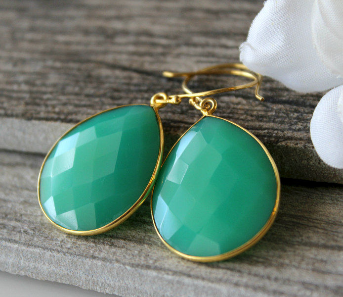 Medium Emerald Green Chalcedony Drop Earrings, Chrysoprase Green, Large Dangle, Large Drop, Gold Vermeil, Huge Teardrop - product images  of
