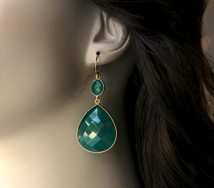 XLarge Green Onyx Double Drop Green Earrings, Green Onyx Dual Dangle, Gold Vermeil, Green Onyx Jewelry - product images  of
