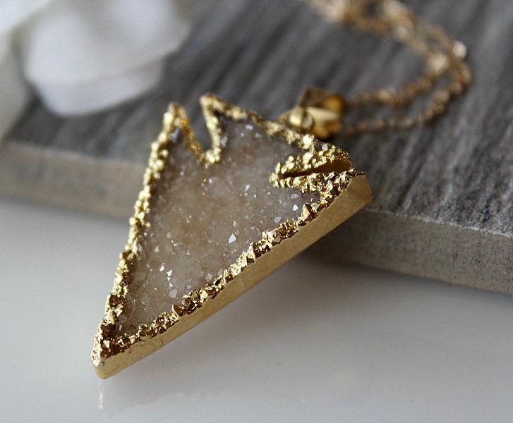 Beige druzy arrowhead pendant necklace dagger sparkling pendant beige druzy arrowhead pendant necklace dagger sparkling pendant arrow head druzy pendant mozeypictures Gallery
